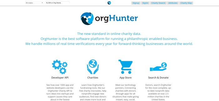 This screenshot of the home page for OrgHunter has a white background, a black and blue logo, and blue and black text with blue logos describing some of the features of this program.