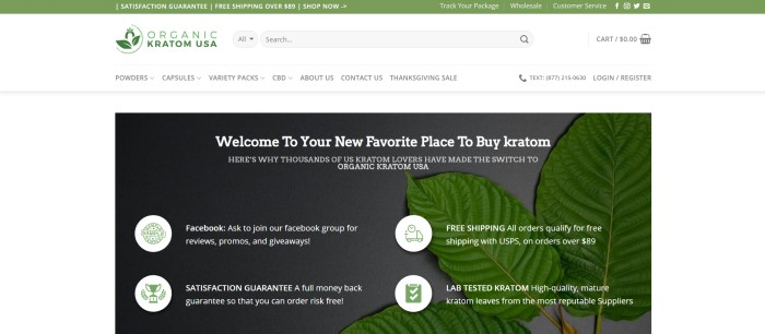 This screenshot of the home page for Organic Kratom USA has a green header announcing free shipping and a satisfaction guarantee above a white background and a dark-filtered photo of kratom leaves with green and white icons and white text describing why customers should buy from this company.
