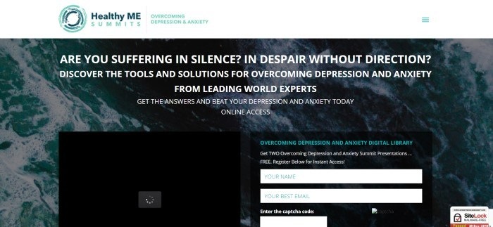 This screenshot of the home page for Overcoming Depression And Anxiety has a white header with the logo in blue and aqua above a dark-filtered photo of an ocean with foam on the top and white text inviting customers to discover tools to help them beat depression and a black opt-in window.