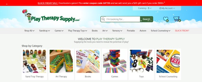 This screenshot of the home page for Play Therapy Supply includes a red sales header above a background of a graphic blue sky with white clouds, and a row of photos and text showing some of the products sold at this online store.