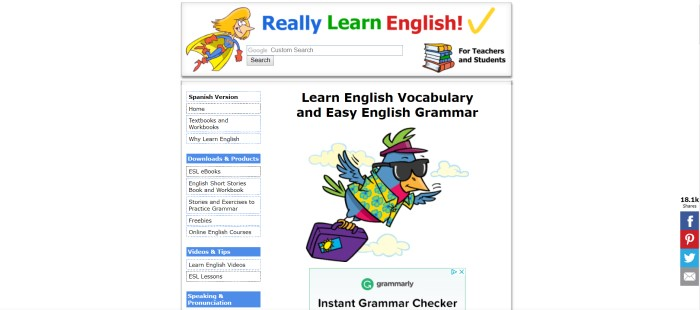 This screenshot of the home page for Really Learn English has a white background with black text, a graphic of a woman superhero in red and blue with a yellow cape, and a graphic of a bluebird in a yellow and blue Hawaiian shirt with sunglasses, a purple suitcase, and a purple visor.