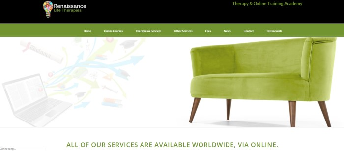 This screenshot of the home page for Renaissance Life Therapies has a black header, a green navigation bar, and a white main section with a green couch and faint graphics showing possible life choices, above green text announcing that these therapy options are available worldwide.