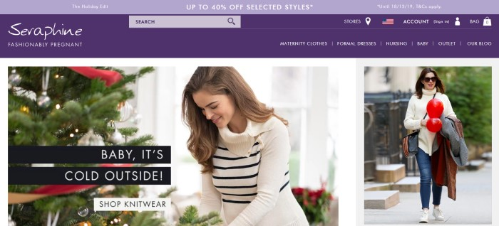 """This screenshot of the home page for Seraphine has a lavendar discount header, a dark purple navigation bar with white text, and a photo of a smiling brown haired woman in a white and black striped sweater near a Christmas tree decorated in silver and red, along with text that reads """"Baby, it's cold outside."""""""