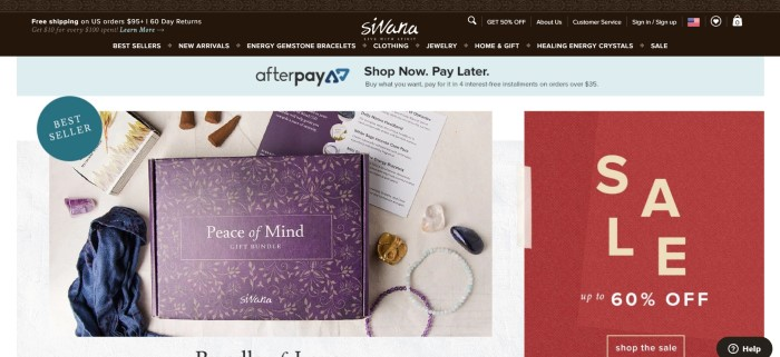 """This screenshot of the home page for Sivana Spirit has a dark header and navigation bar, a large photo of a purple box that says """"Peace of mind gift bundle on it"""" with gemstones and incense cones surrounding it, and a red 60% off sale box on the right side of the page."""