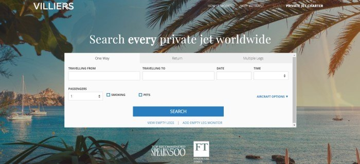 This screenshot of the home page for Villiers jet Charter has a large gray travel search box in front of a photo of palm trees on the edge of a blue ocean with fishing boats on it, along with text in white lettering that reads