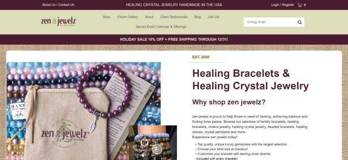This screenshot of the home page for Zen Jewelz has a dark and light brown header and navigation bar above a light brown burlap background with a photo of various gemstone bracelets made from spherical beads and a white text area with black lettering that tells about the company and the jewelry.