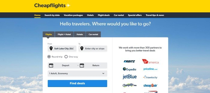 This screenshot of the home page for Cheap Flights has a yellow header, a black navigation bar with white and yellow text, and a blue background with a white search window as well as wording in white text that reads