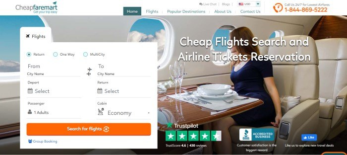 This screenshot of the home page for CheapFareMart has a white navigation bar and travel search window in front of a photo of a woman in a blue dress, sitting at a dining table with white china and crystal glasses, as she looks out one of the windows on her flight toward a sky of blue above white clouds.