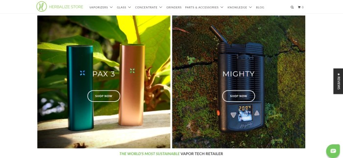 This screenshot of the home page for Herbalize Store has a white navigation bar and background, along with a photo on the left side of the page of two Pax 3 vaporizers and a photo on the right side of the page for a black Mighty vaporizer.
