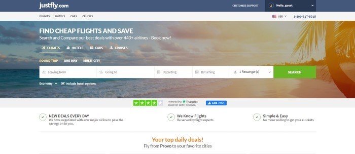 This screenshot of the home page for JustFly had a dark blue header, a light gray navigation bar, and a gray and transparent travel search window in front of a photo of a seascape.