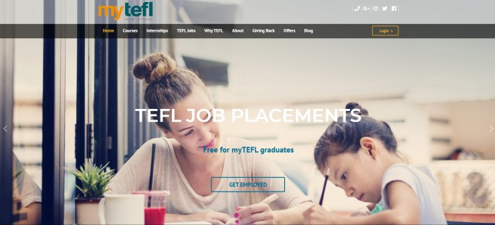 "This screenshot of the home page for myTEFL has a black navigation bar with white text overlaying a photo of a brown-haired woman in a bun and a white shirt smiling at a young dark-haired girl in a bun who is working with a pencil in what appears to be a classroom or office, along with white text that reads ""TEFL job placements."""