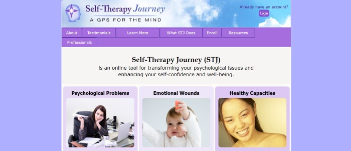 This screenshot of the home page for Self-Therapy Journey includes a periwinkle background, a white main section with photos and black text describing self-therapy journey elements, and a light purple navigation bar with a purple call-to-action button.