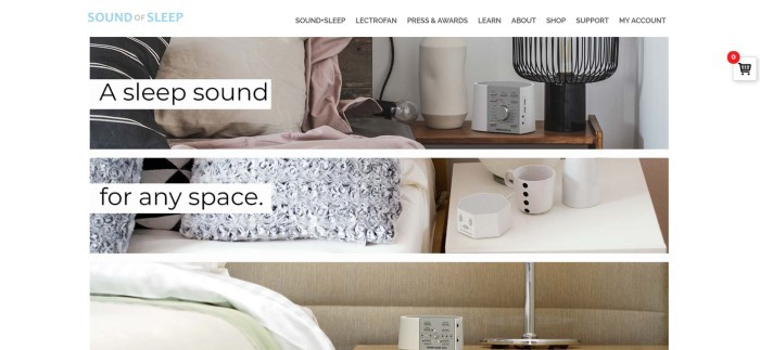 This screenshot of the home page for Sound Of Sleep has a white navigation bar above three banner-type photos, one on top of the other, all showing different sound devices on nightstands in bedrooms, along with black text reading