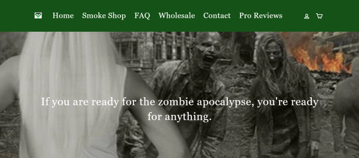 """This screenshot of the home page for Zombie Survival Kit for Smokers has a green navigation bar above a black and white photo showing the back of a blond woman facing some zombies coming out of a decrepit mansion, along with white text that reads """"If you are ready for the zombie apocalypse, you're ready for anything."""""""