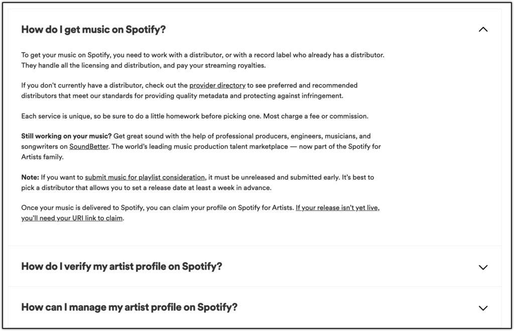 spotify faq for artists