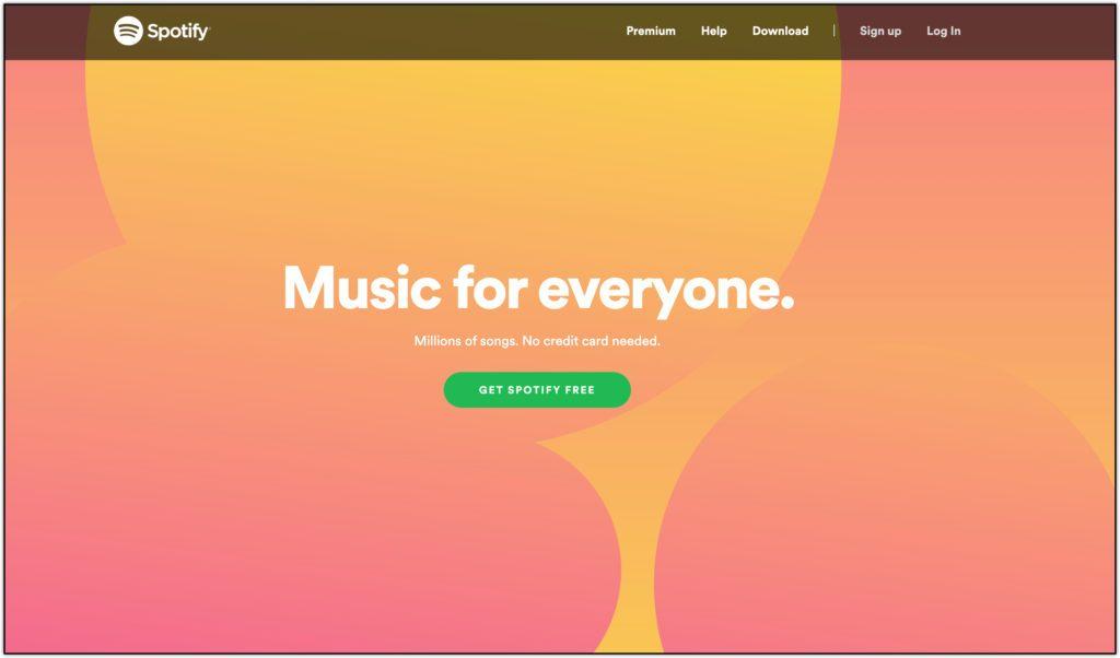 spotify home page screenshot