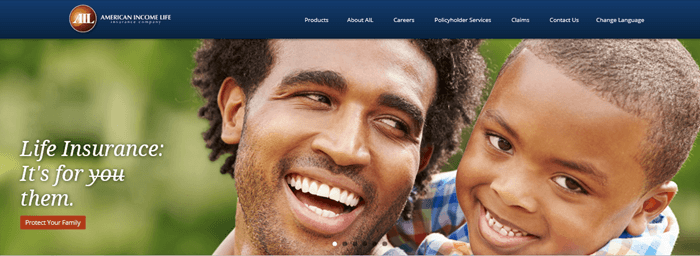 An image from the American Income Life website showing a father and son