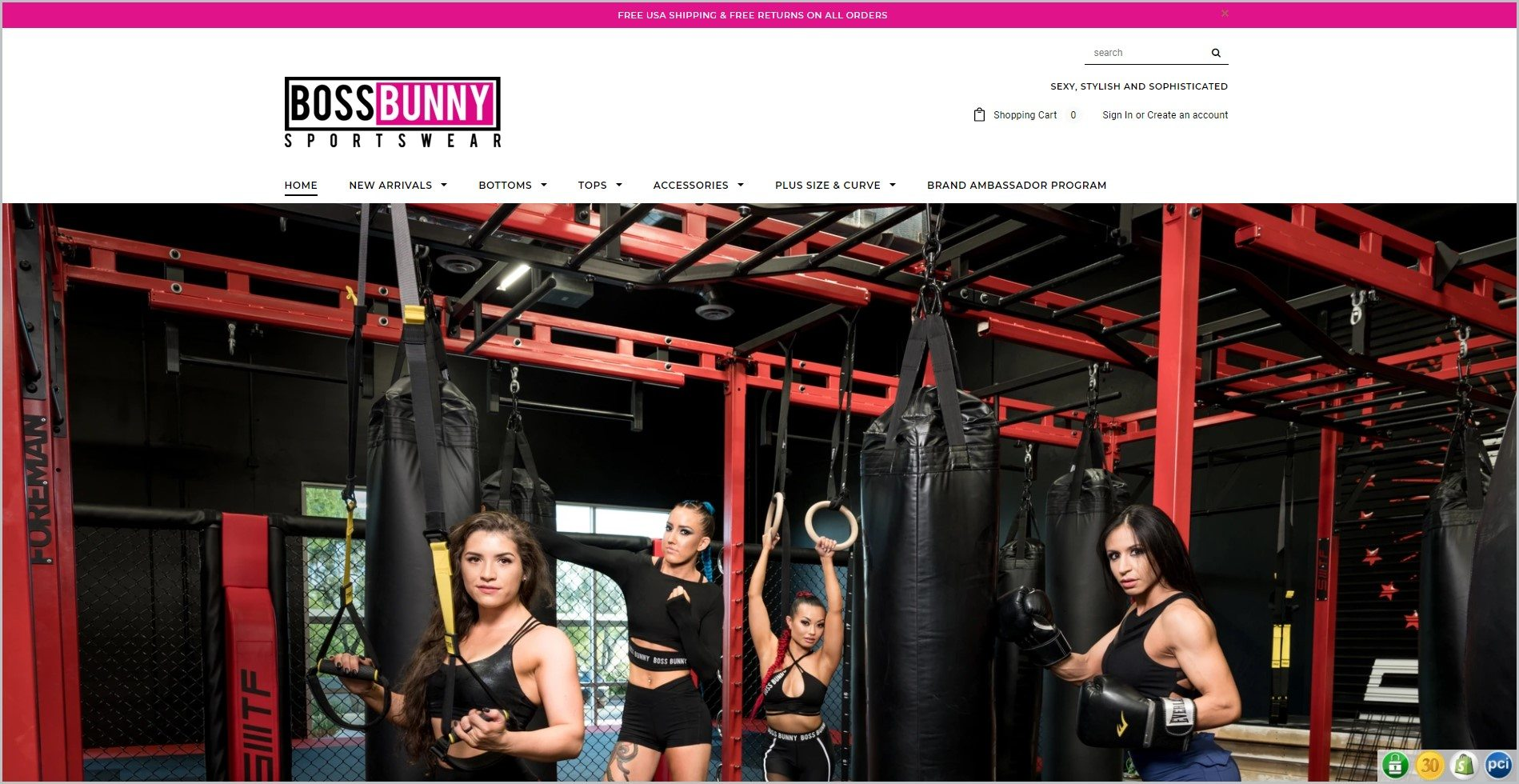 screenshot of Boss Bunny homepage, with pink announcement bar, white header with the website's name and main navigation menu, it showcases an image of women in their workout outfit in a gym