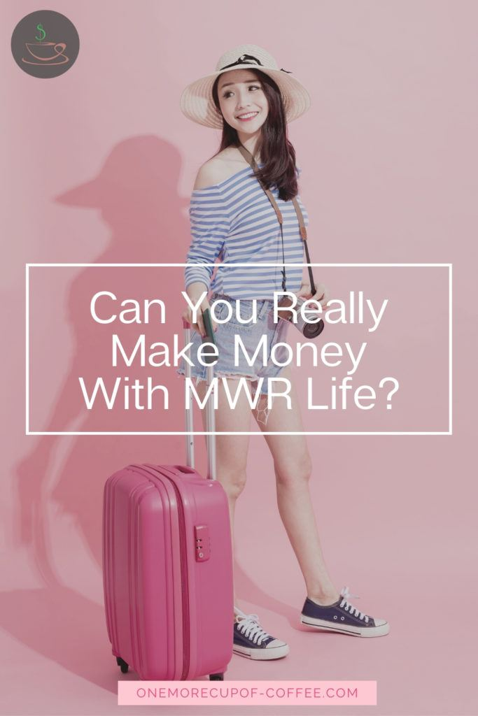 woman in travel outfit and luggage against pink backdrop with overlay text