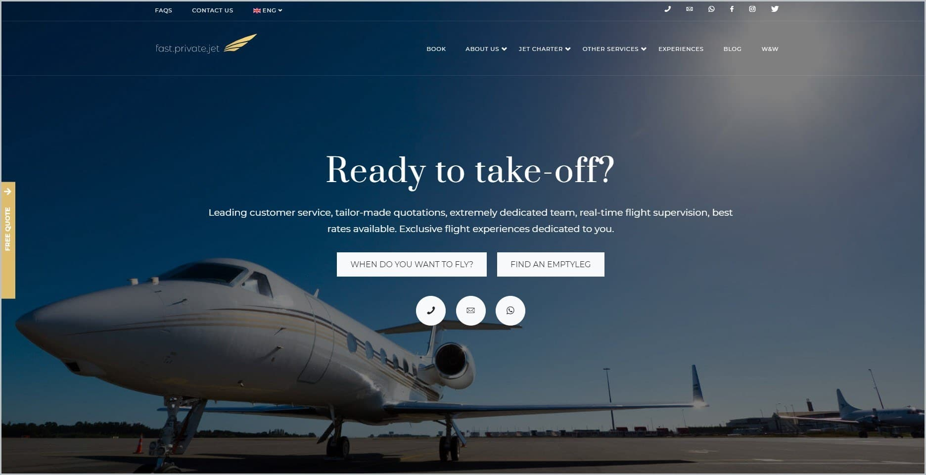 screenshot of Fast Private Jet homepage with blue header bearing the website's name and main navigation menu, it showcases a picture of an aircraft