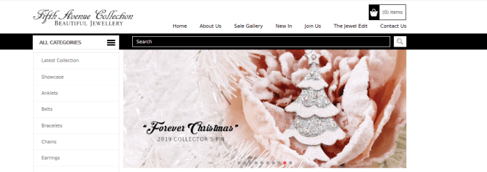 Fifth Avenue Collection Website Screenshot showing a Christmas tree