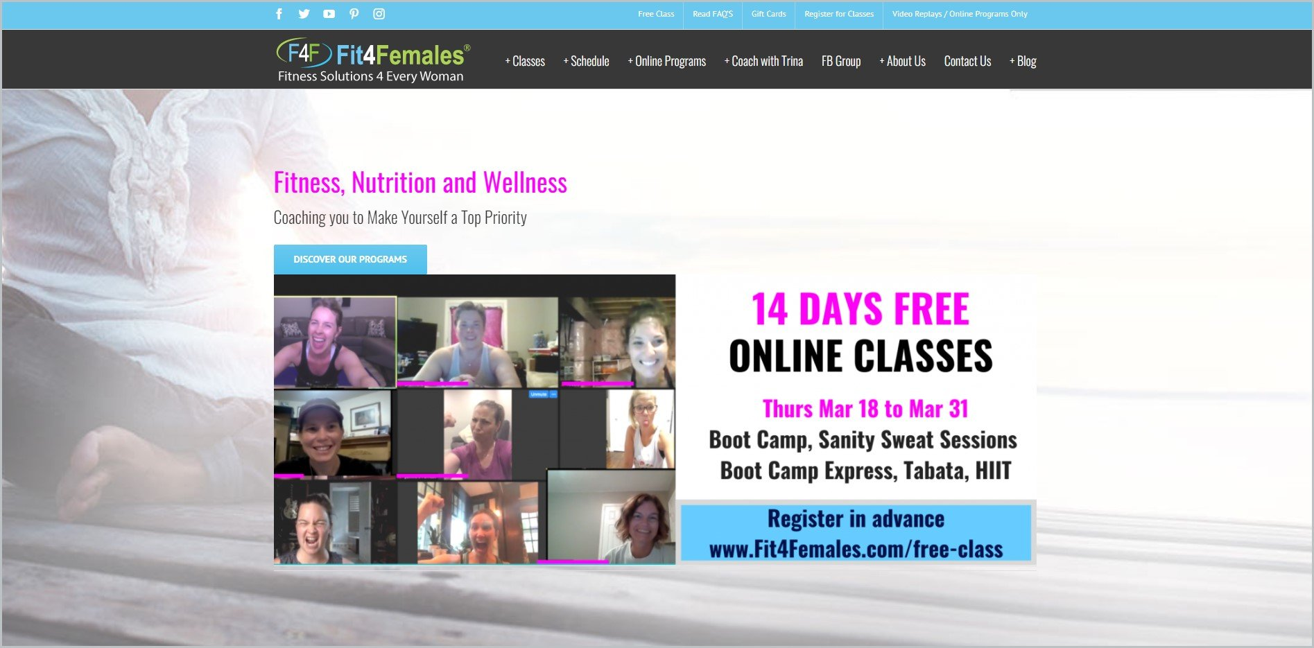 screenshot of Fit4Females homepage, with sky blue announcement bar, black header with the website's name and main navigation menu