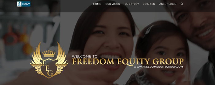 An image from the Freedom Equity Group website showing a family and the company's logo