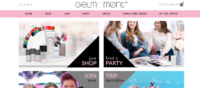 Gel Moment Website Screenshot showing nails, polish and girls
