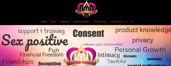 Igniting Passion Website Screenshot showing various pieces of text about passion and sex