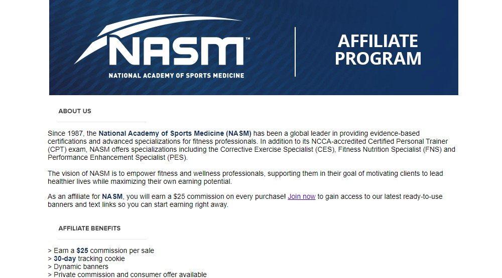 NASM affiliate program sign up page