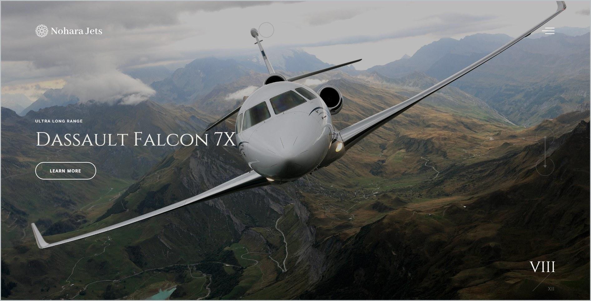 screenshot of Nohara Jets homepage, showcasing an aircraft in midflight