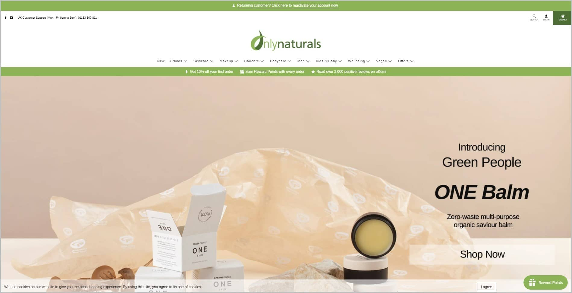 screenshot of Onlynaturals homepage, with apple green announcement bar, white header with the website's name and main navigation menu