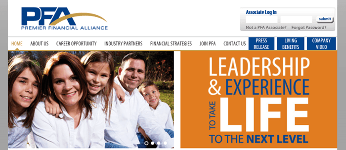 An image of the Premier Financial Alliance website showing a family