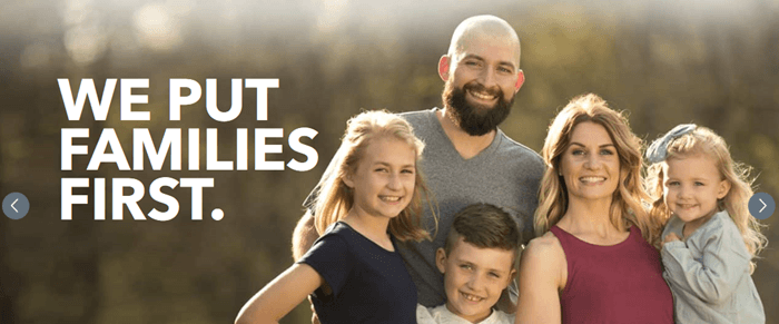 An image of a happy family with the phrase 'we put families first'