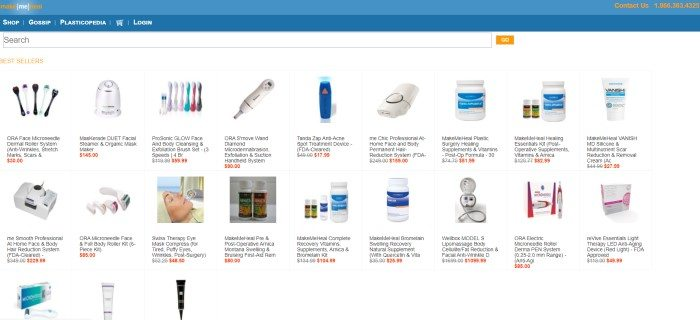 This screenshot of the home page for Make Me Heal has a blue header and a white background with several product images and descriptions of them in black and red text.