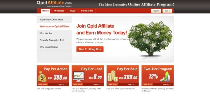 This screenshot of the home page for Qpid Affiliate has a dark header with red and white tabs in the navigation bar, above a white and gray section with a vertical navigation section and a green tree with money mixed in with the leaves, along with red text inviting people to join Qpid, a red call-to-action button, and a row of red text boxes announcing ways affiliates can make money.