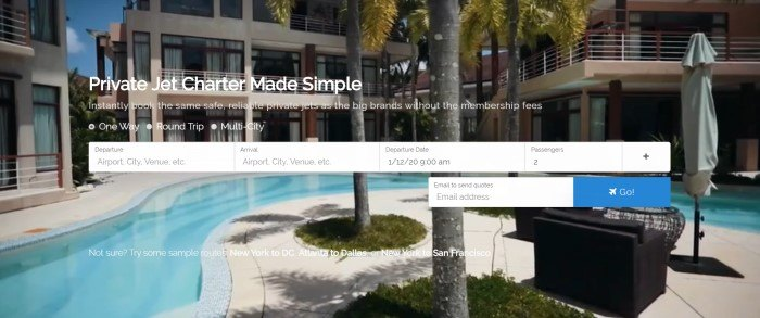 This screenshot of the home page for Simple Charters shows a hotel swimming pool with palm trees nearby and the hotel rising in the background, along with white text announcing private jet charters made simple and a window for beginning to search for jet charters.