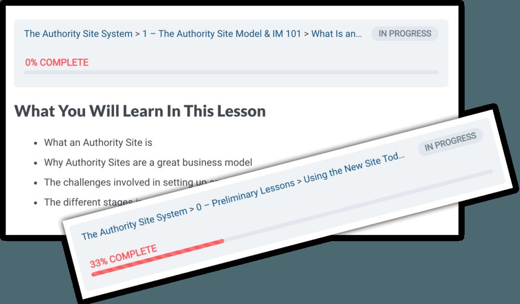 TASS course navigation and progress bar