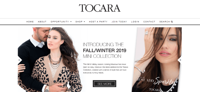 Tocara Website Screenshot showing a woman with jewelry