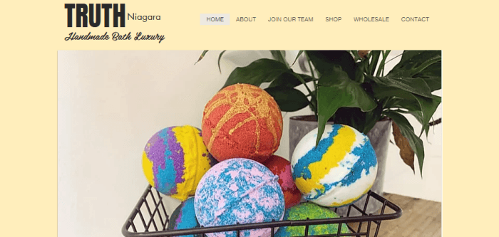 Truth Nigara Website Screenshot showing bath bombs in a basket