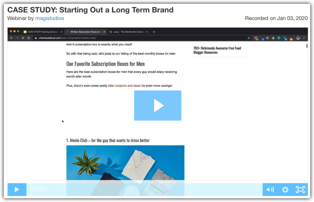case study starting out a long term brand webinar 1