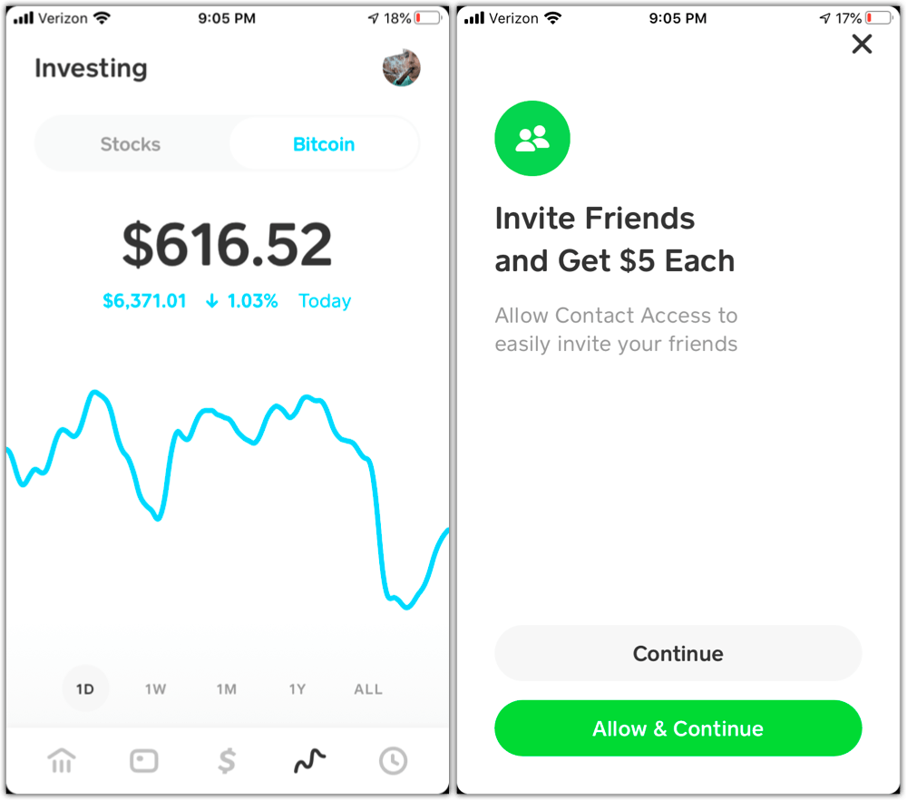 cash app bitcoin and referral fee screenshot