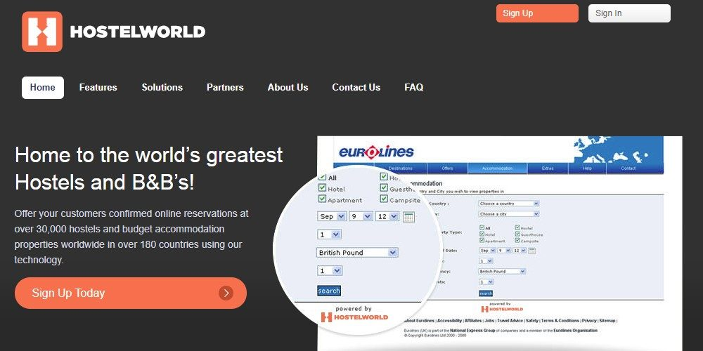 hostel world home page