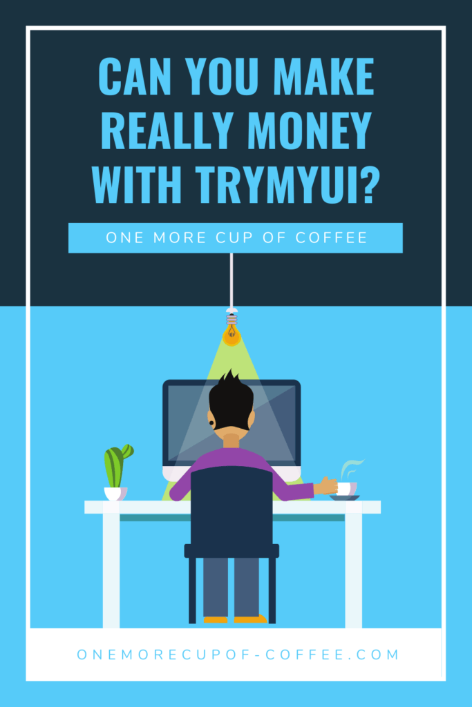 vector graphic man working at computer desk making money with trymyui