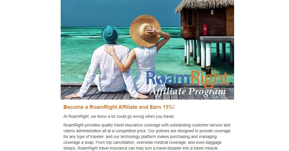 roam right affiliate sign up page.