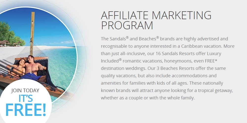 sandals resorts affiliate sign up page.