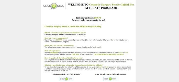 "This screenshot of the affiliate information page for the Cosmetic Surgery Service Initial Fee program has gray background on the left and right, a white background in the middle text section, a gray and green ""Click 2 Sell"" logo, and text in black and green describing the program."