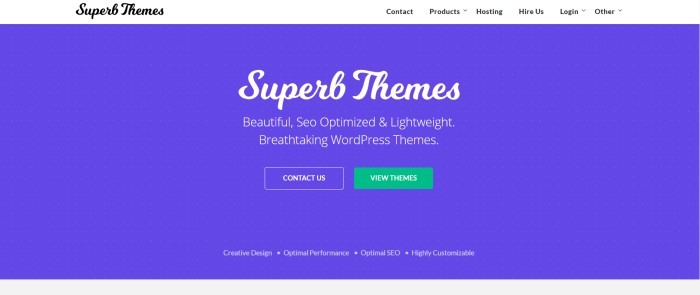 This screenshot of the home page for Superb Themes has a white navigation bar above a blue main section with white text announcing SEO optimized WordPress themes and a green call-to-action button.