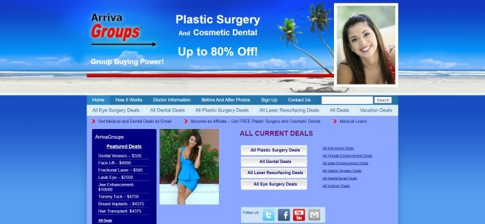 This screenshot of the home page for Arriva Groups has a royal blue background, with text in black, red, and white, along with a photo of a sandy beach with a blue sky, a photo of a smiling brunette woman, and a photo of a smiling dark-haired woman in a blue dress in the middle of the text sections near the bottom of the page.