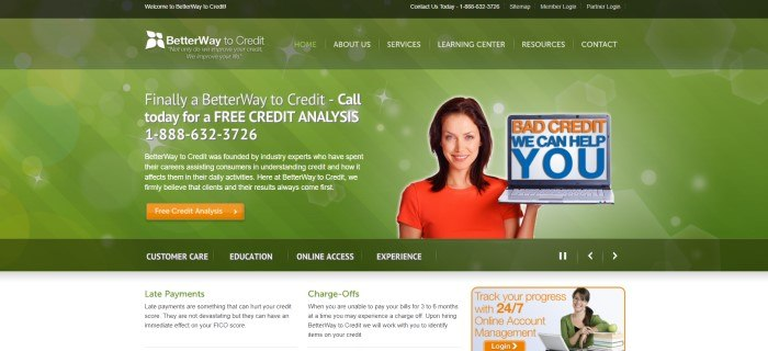 This screenshot of the home page for BetterWay To Credit has a green background with white text inviting consumers to call for a free credit analysis, along with a photo of a smiling brunette woman in a red shirt holding an open laptop with orange and blue text on the screen that reads